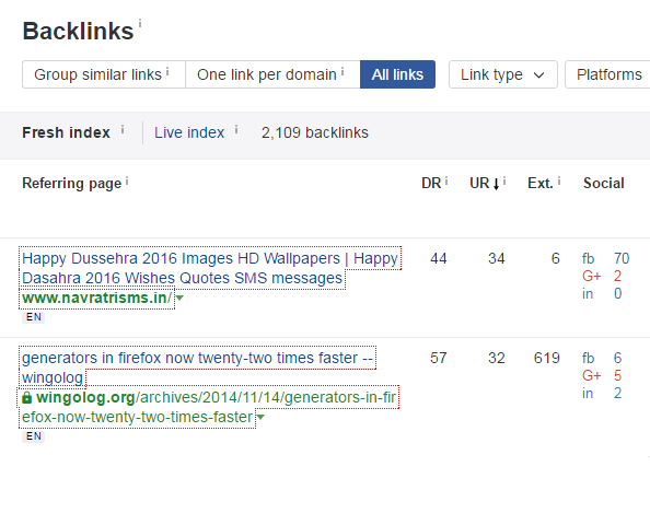 Spy backlinks