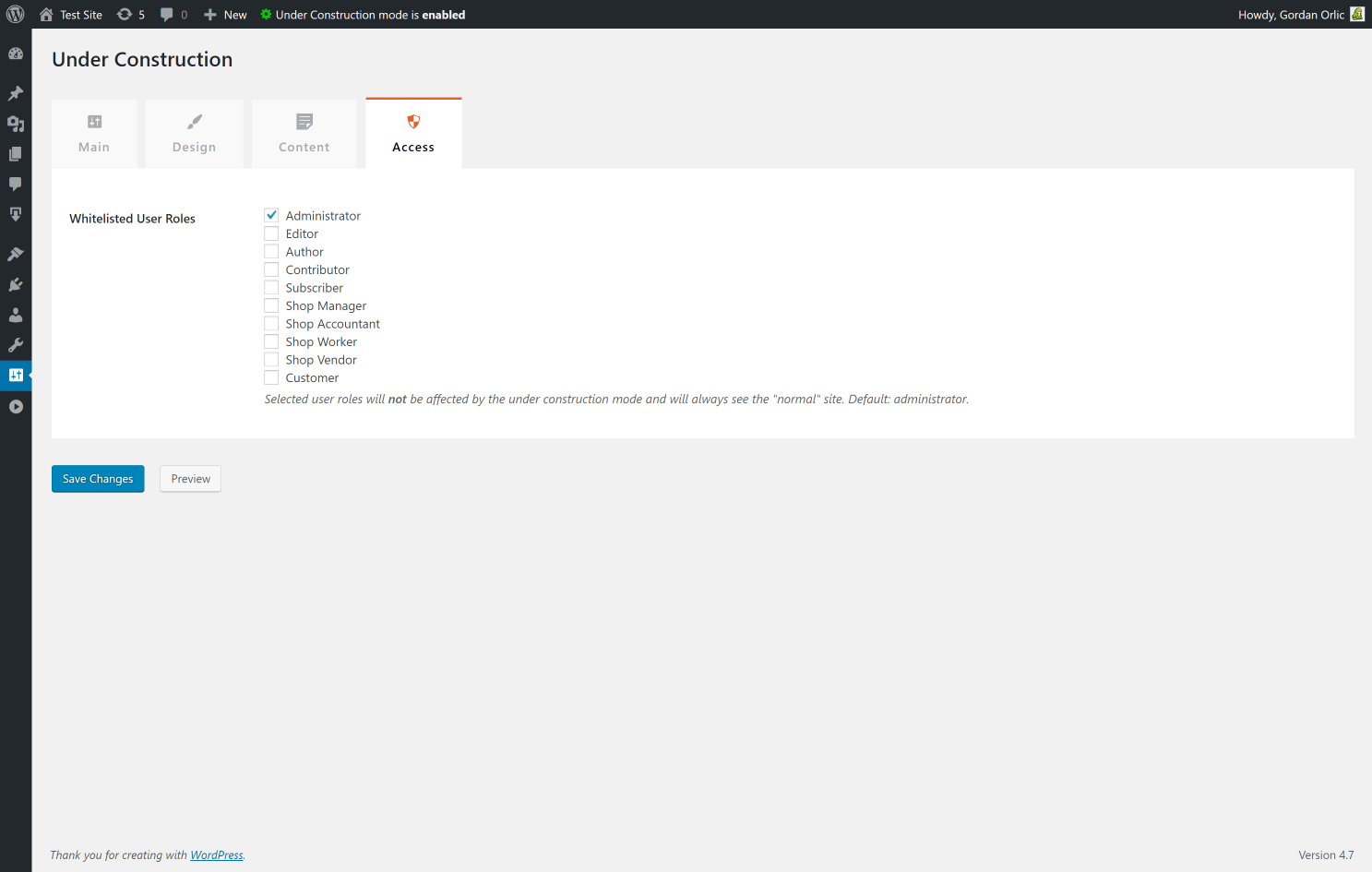 Under Construction Page Plugin access