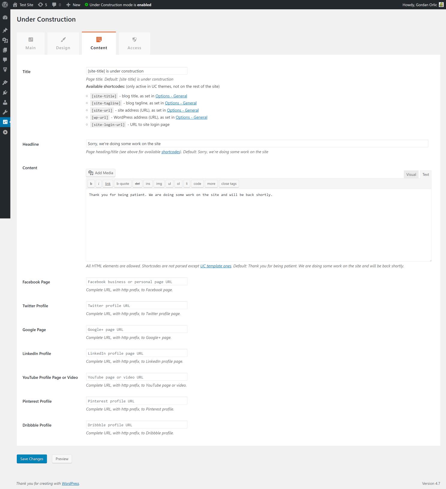 Under Construction Page Plugin content