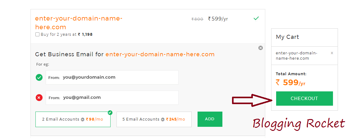 Bigrock 99 rs domain promo