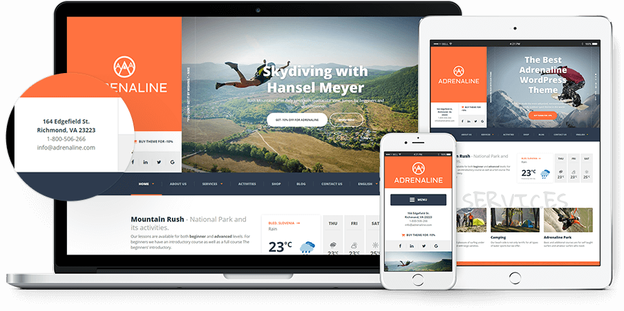 adrenaline responsive travel wordpress theme