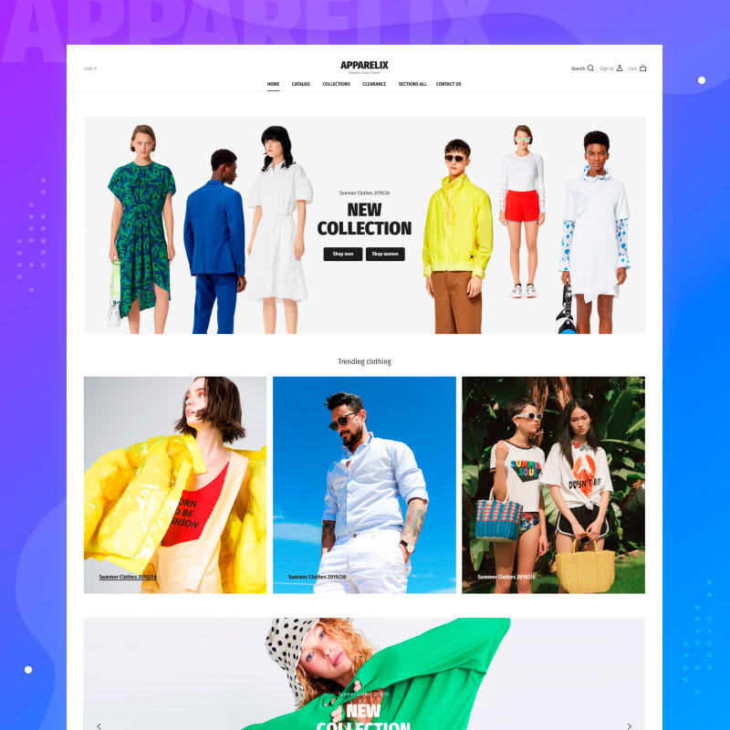 Apparelix Clean Multipurpose Shopify Theme for Apparel Brand